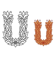 Alphabet letter u in a nature font with leaves vector