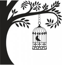 Bird cage and tree vector