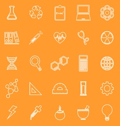 Science line icons on orange background vector