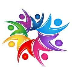 Swooshes figures teamwork logo vector