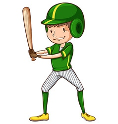 A baseball player in green uniform vector