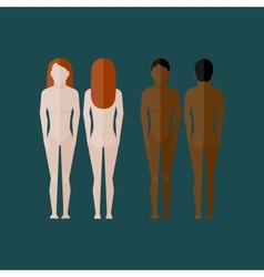 With naked women body front and back view in flat vector
