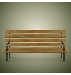 Wooden detailed bench on green vector