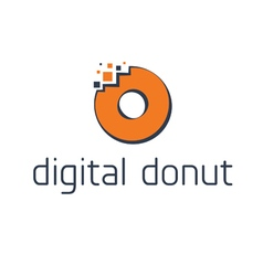 Abstract digital donut with pixel vector