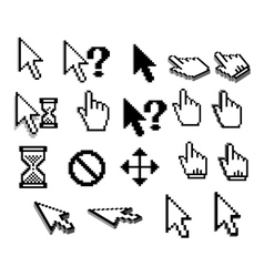 Pixel cursor icons in black and white vector