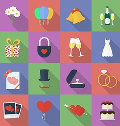 Set of wedding icons flat style vector