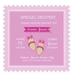 Baby girl shower or arrival card vector