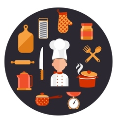 Cooking serve meals and food preparation elements vector