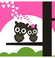 Two owls have fallen in love and sit on a tree a vector