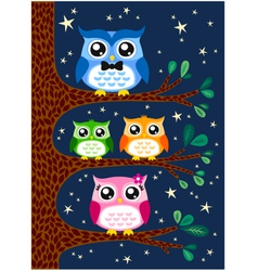 Owl family design vector