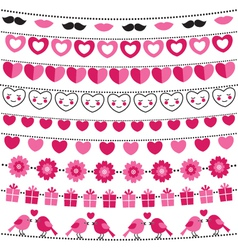 Valentine bunting flags set vector