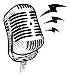 Doodle microphone radio vector