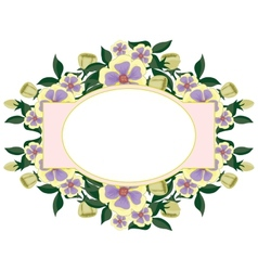 Beautiful floral oval label vector