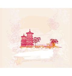 Old paper with japanese temple on abstract asian vector