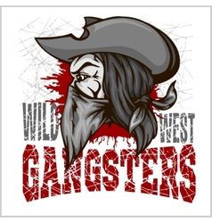 Gangster in retro scratch background vector
