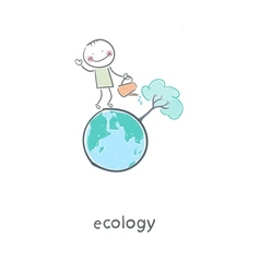 The concept of ecological restoration a man vector