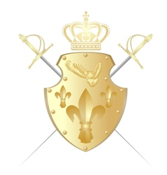 Shield crown and two swords vector