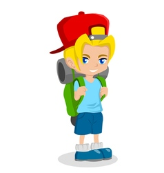 Boy with backpack vector