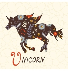 Beautiful floral unicorn horse vector