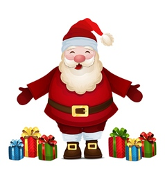 Cheerful santa with gifts vector