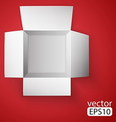 Open white box on red background top view vector