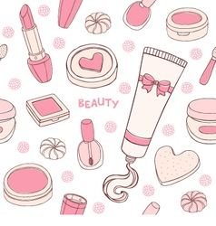 Makeup seamless pattern vector