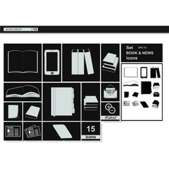 Collection web icons book newspaper vector