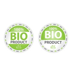 100 bio product label in two versions vector