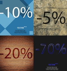 5 20 70 icon set of percent discount on abstract vector