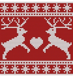Christmas seamless pattern with deers heart and vector