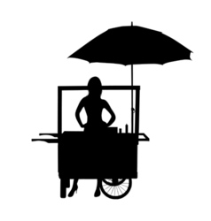 Saleswoman from his wheelchair vector
