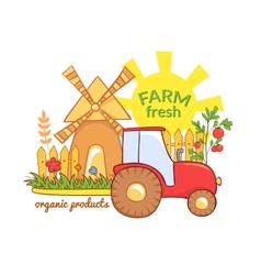 Farm fresh with rural landscape vector