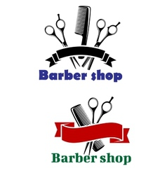 Barber shop signs with blank banners vector
