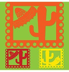 Mexican papel picado paper flag decoration set in vector