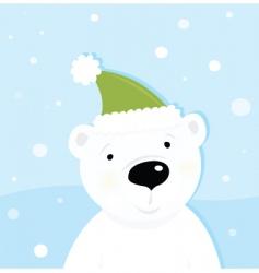 White polar bear on snow vector
