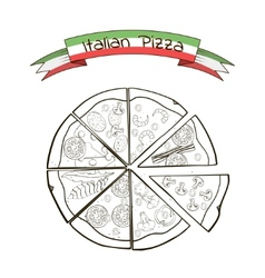 Slices of pizza with different fillings in a vector