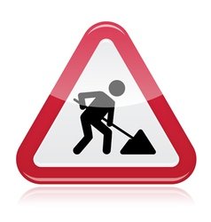 Road works sign under construction vector