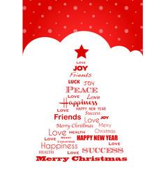 Wish tree christmas card vector
