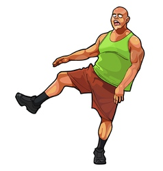 Cartoon funny guy muscular jumping on one leg vector