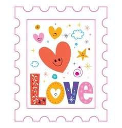 Love postage stamp vector