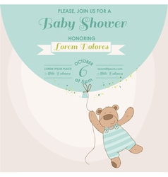 Baby shower card - baby bunny with balloon vector