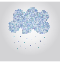 Abstract polygonal cloud with rain drops vector