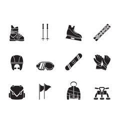 Silhouette ski and snowboard equipment icons vector