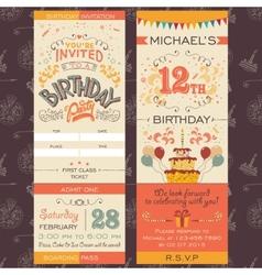Birthday party invitation ticket vector