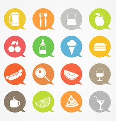 Food web icons set in color speech clouds vector