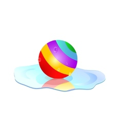 Colorful ball in puddle vector