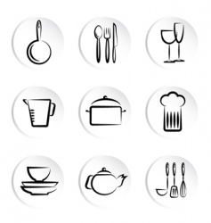 Kitchen object icons vector
