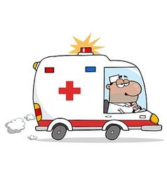 Black doctor driving ambulance vector