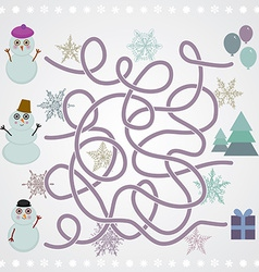 Snowmen labyrinth game for preschool children vector