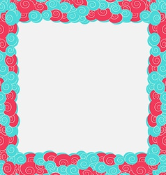Abstract blue and pink color frame background vector